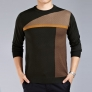 fashion patchwork knitted round collar high quality men's T-shirt