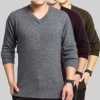 mink cashmere v-neck solid color men sweater