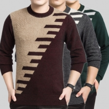 100% long mink velvet fleecy sweater for men design