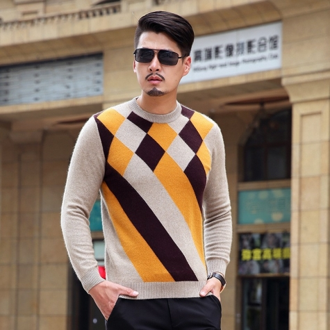 argyle pattern long mink velvet sweatshirt sweater for men