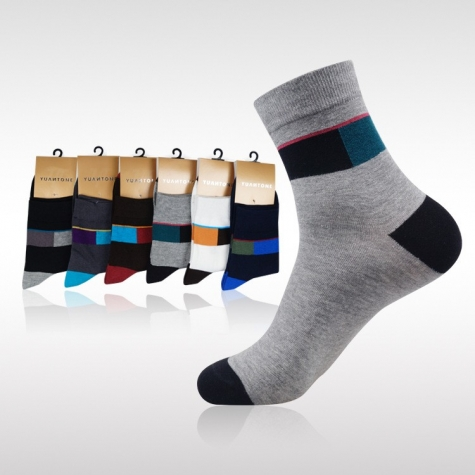 patchwork colorfast cotton men's casual  socks for men