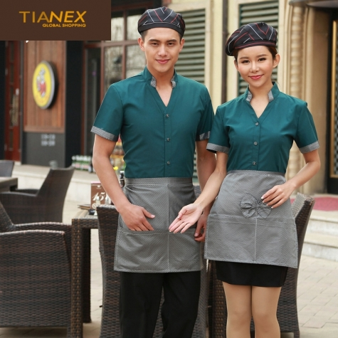 fashion V collar short sleeve thin uniform for waiter waiteress