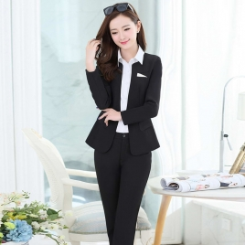 two buttons long sleeve lady pant suits for work