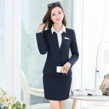 two  buttons long sleeve women skirt suits  work uniform