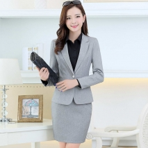 one buttons long sleeve women suits  (skirt + blazer)