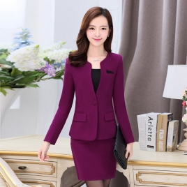 thicken wool V-collar women skirt suits