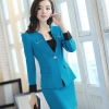 casual one button roll hem collarless office Lady OL women's skirts suits