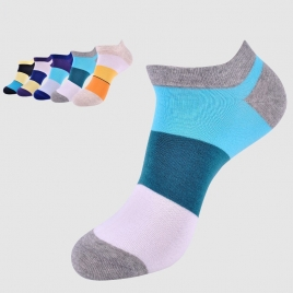 summer combed cotton patchwork men's slipper sock