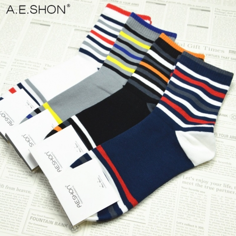 2014 high quality stripes cuff cotton athletic men's socks