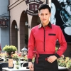 men redrestaurants coffee bar waiter waitress uniform shirt + apron