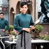 blackish green womenautumn Thailand vintage half sleeve waiter waitress shirts  Waiter 101