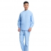 blue(long coat + pant)right side opening male dentist long sleeve uniform jacket suityou