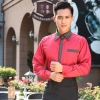 men red long sleeve hotel restaurant waiter waitress shirt,uniform work wear