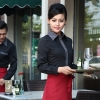 women black long sleeve hotel restaurant waiter waitress shirt,uniform work wear