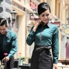 women blackish green long sleeve hotel restaurant waiter waitress shirt,uniform work wear