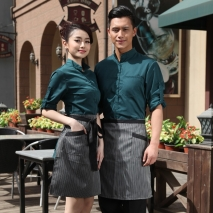 autumn Thailand vintage half sleeve waiter waitress shirts and apron Waiter 101