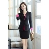 Blackcasual one button roll hem collarless office Lady OL women's skirts suits