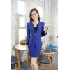 sapphire bluecasual one button roll hem collarless office Lady OL women's skirts suits