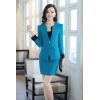 acid bluecasual one button roll hem collarless office Lady OL women's skirts suits