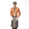 men orangeupgrade satin like fabric waiter uniform shirts apron
