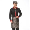 men blackupgrade satin like fabric waiter uniform shirts apron