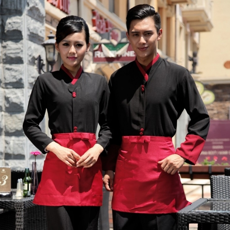 fashion nice round button long sleeve coverall restaurant meal dress