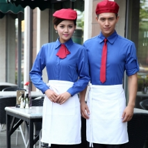 solid contrast color Hotel restaurant work wear uniform,autumn long sleeve shirts