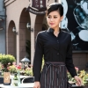 women blacklong sleeve waiter waitress band collar shirt uniform