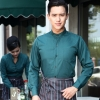 men blackish greenlong sleeve waiter waitress band collar shirt uniform
