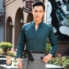 men blackish greencoffee food service restaurants staff uniform workwear waiter