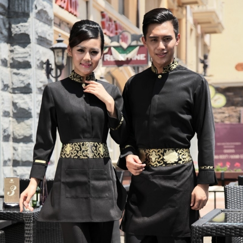 fashion traditional floral collor hotel work wear uniforms,waiter waitress shirt apron