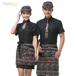 twill hem coffee Dessert waiter uniform set apron shirt