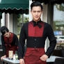 patchwork bow collar fashion waiter waitress long sleeve shirt + apron