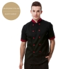short sleeve wine(black collar)professional design double breasted coat uniform restaurant men women chef