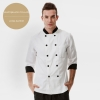 long sleeve white(black collar)professional design double breasted coat uniform restaurant men women chef