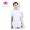 Whitefashion side-buttoned short sleeve summer nurse coat uniform