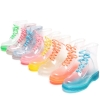 Street fashion colorful crystal transparent PVS girl's women rain boot