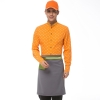 men  orangehorse print  waiter uniform shirts and apron