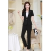 black pant suitssummer collarless thin formal work pant suits for women