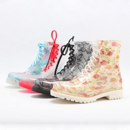 Korea print vintage modern fashion women's rain boot,waterproof shoes