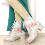 dripdrop grace vintage floral high quality low heel women's rain boot