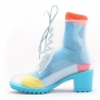 hot sale fashion short martin style women transparent rain boot