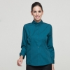 women blackish greenlong sleeve button down collar waiter waitress shirt uniform
