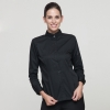 women blacklong sleeve button down collar waiter waitress shirt uniform