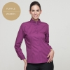women purplelong sleeve button down collar waiter waitress shirt uniform
