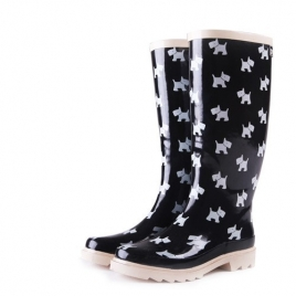 fashion design lovely dog print women's high rain boot