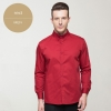 men redlong sleeve solid color waiter shirt restaurant uniform