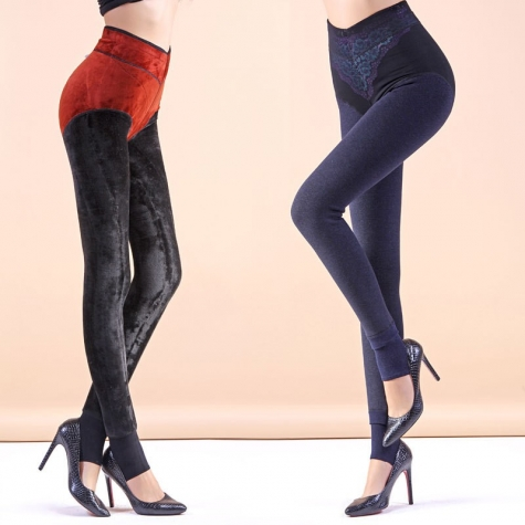 fashion sexy lace waist fleece skinny women's thermal pant trousers
