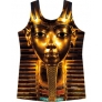 Egypt pharaoh metal mask print loose women's t-shirt top + harem pant
