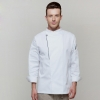 long sleeve whitelong sleeve side opening unisex chef  cooking uniforms for restaurant kitchen
